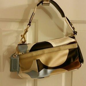 Coach small handbag multicolor C satin